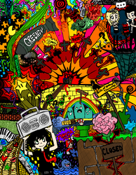Green Day Doodle -coloured- by lewisrockets