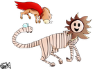Striped Lion And Chewy the Super Cheetah by zencat61