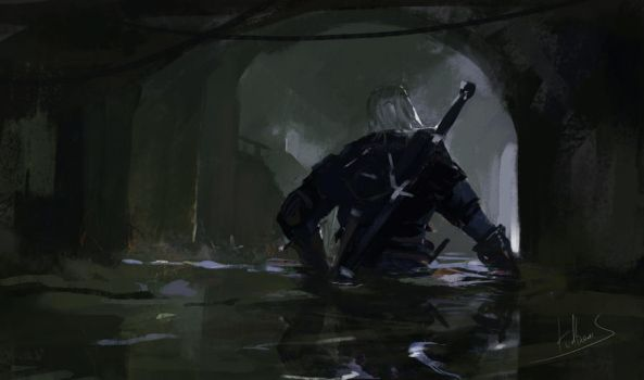 Geralt exit from the canals by Kalberoos