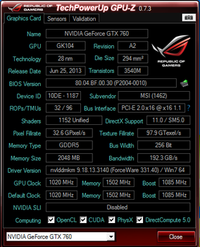 GPU-Z / MSI NVidia GTX 760 TF by EVIL-MINDS-CREATIONS