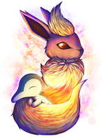 Flareon and Cyndaquil by Nekodox
