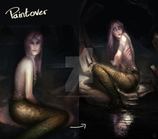 Mermaid Paintover by WinterGoesDraw