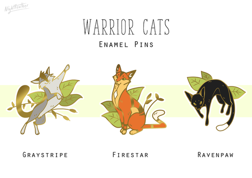 Warrior cats enamel pins PREORDER by Nightfeather123