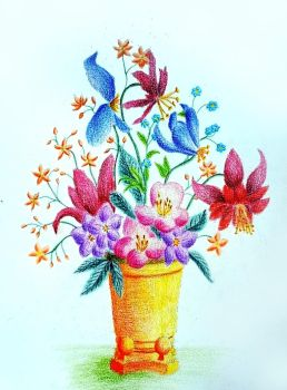 Flower vase in colored pencils I by vendoritza