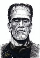 FRANKENSTEIN MONSTER Illustration HAZLEWOOD - SOLD by DRHazlewood