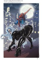 Blackcat e Spiderman colorful by MonkeyFire99