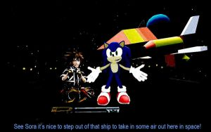Sora And Sonic In Space. by shadow759