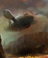 Airship in the valley by Malakuko