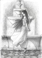 Girl by the Fountain Sketch by EmberRabbit