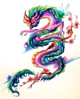 Asian Dragon Tattoo by Lucky978