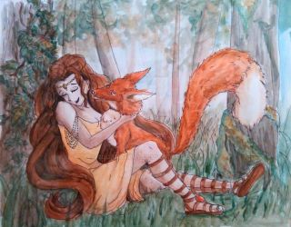 Wood Nymph and Fox by SugarHappy