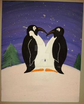 You'll Always Be My Penguin 8x10 Acrylic Painting by MikeysGrrrl
