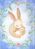 Mummy and baby bunny by nienor