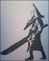 Pyramid Head stencil by Lhorkan