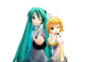 Miku and Rin by JuliaDS