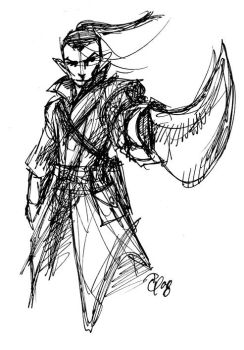 Elf Fighter - Loose Sketch by Tensen01