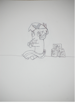 sketch:Filly Twilight loves apple juice by SithLord67