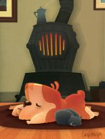 Napping By The Woodstove by Discovear