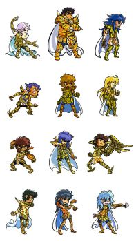 Gold Saints Fighting Stance nh by poipopoi