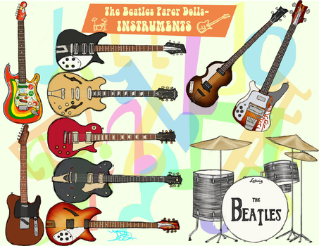 Beatles paper doll instruments by 89000007ANL