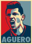 Sergio Aguero in Obama HOPE Style Poster by LTrevill