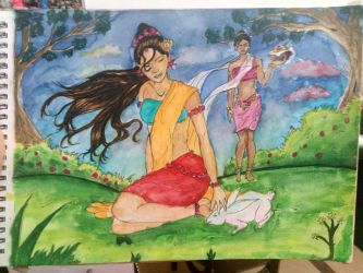 a painting from a scene in Indian mythology about  by Anatomy-lover