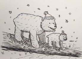 Novembear 06: Two Bears on a Log by nickv47