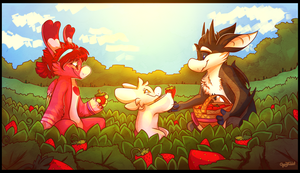 Strawberry Picking by CherryTrabbit