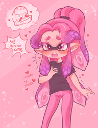 thinking about a cute octoling by RunningFree17