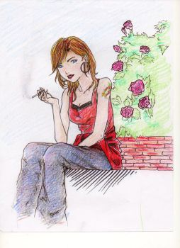 Smoking on the wall by Trisiphone