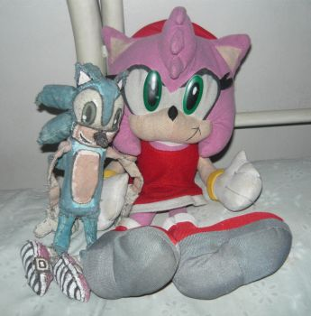 Our Homemade Sonic Doll And Plush toy Amy Together by KambalPinoy