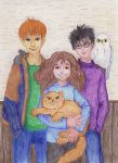 Ron, Hermione, Harry and Pets - Coloring Contest by MoonyMina