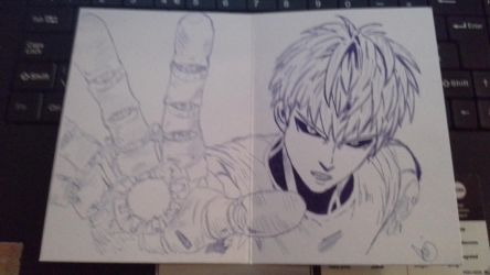 Biro Drawing of Genos by ironsepticgirl22