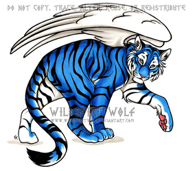 Commission Blue Tiger Copic by WildSpiritWolf