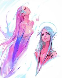 Astro Mermaids by rossdraws