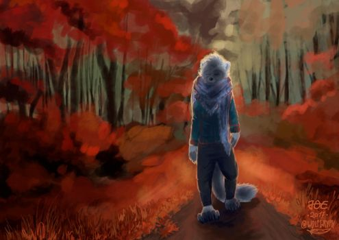 Cinza's Autumn Walk by wolfgryph
