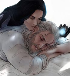 Geralt and Yennefer colored sketch by Everybery
