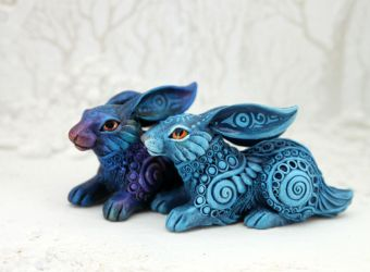 Two fantasy rabbits by hontor