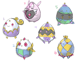 [CLOSED] Mini Fabrige Egg-Kun Adoptable Batch by CloverWing
