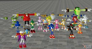 Sonic Free Riders Model Pack For XNALara by user619