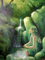 Waterfall girl by gingerbreadart