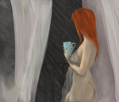 Naked Lady On The Balcony - Speed Painting 006 by olq-plo