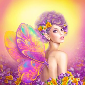 Beautiful girl fairy butterfly at pink and purple by AlenaLazareva