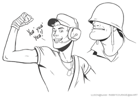 TF2: Scout and Solly by rabbitcourage