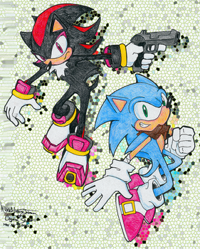 Shadow and Sonic the Hedgehog by CrystalStarSpirit