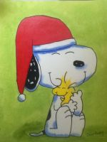 Snoopy hugging Woodstock by Nala1994