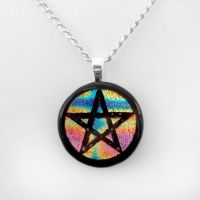 Rainbow Fused Dichroic Glass Pentacle Pendant by HoneyCatJewelry