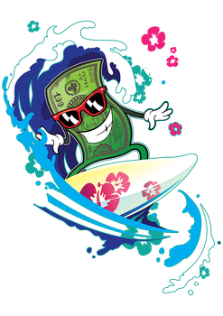 Bucks the Hundred Bill Mascot Character - Surfing by freedezigner