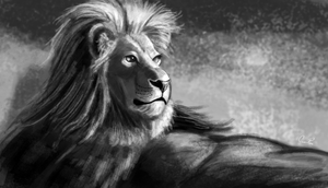 Lion Portrait by CalebP1716