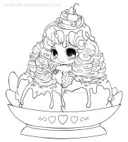 Ice Cream Girl Lineart by YamPuff